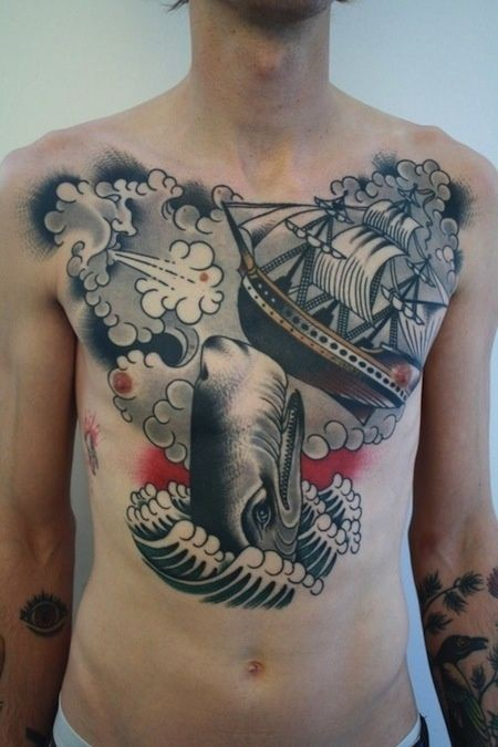 Whale tilting ship tattoo on chest by Chriss Dettmer