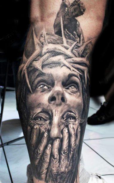 Wonderful idea of jesus tattoo on leg for Tattoos of black jesus