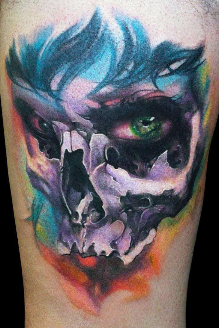 Amazing watercolour woman skull tattoo