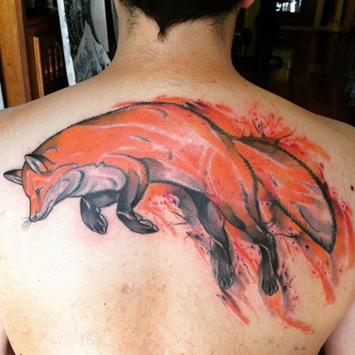 Wonderful accurate painted colored upper back tattoo of fox