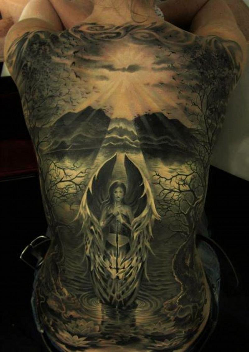 Wonderful angel tattoo on whole back