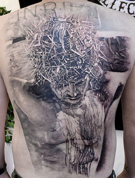 Wonderful black gray crucified jesus tattoo on whole back