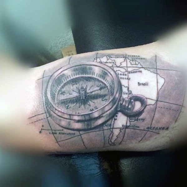 wonderful black ink 3d compass with map tattoo on arm. Black Bedroom Furniture Sets. Home Design Ideas