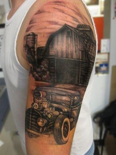 Wonderful car tattoo on half sleeve