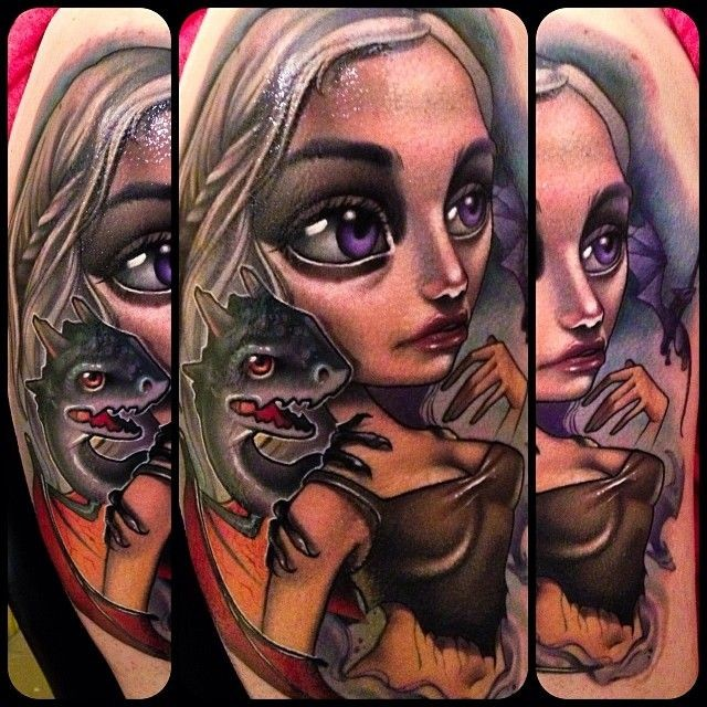 Wonderful colored cute shoulder tattoo of Game of Thrones woman hero with dragon