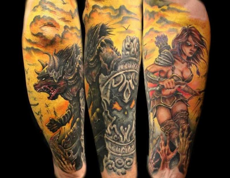 Wonderful colored detailed fantasy demonic warriors tattoo on forearm