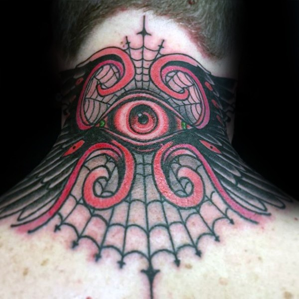 0e4a8ffd4eca3 Wonderful colored neck tattoo of mystical eye and spider web ...