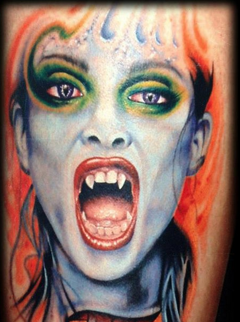 672557c56 Wonderful colored realistic looking vampire woman tattoo on leg ...