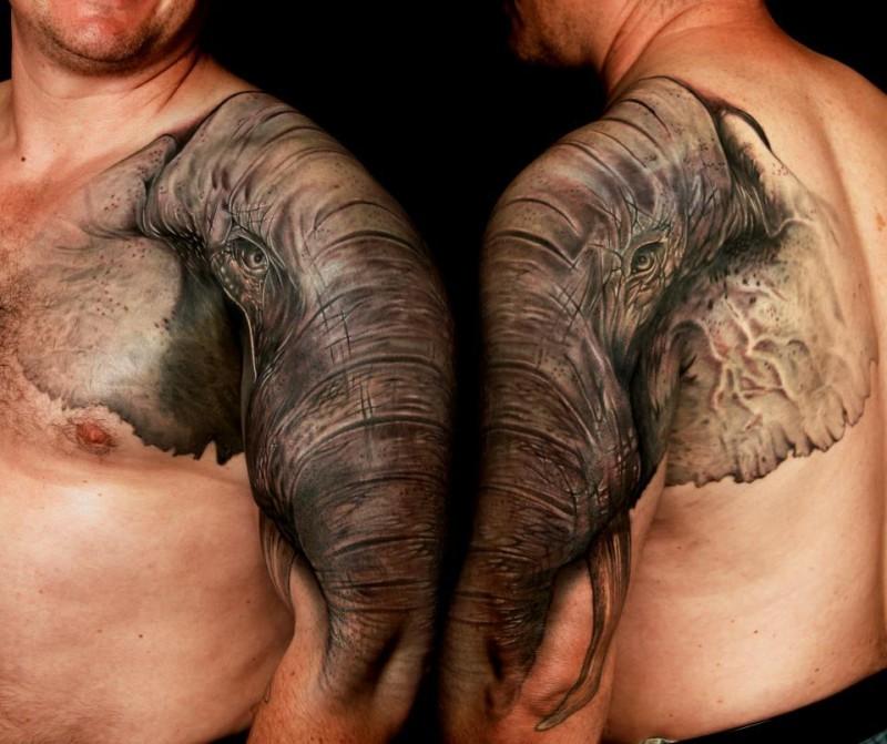 Wonderful colorful elephant tattoo on shoulder