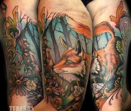 colorato meraviglioso volpe rossa tatuaggio da Theresa Sharpe  sul braccio