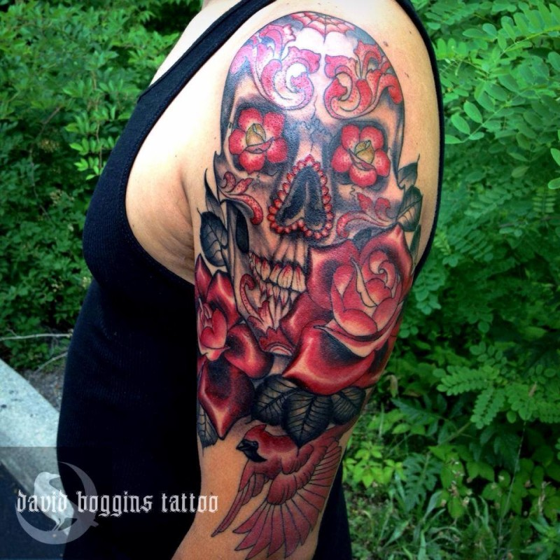 Wonderful coloured sugar skull tattoo by David Boggins