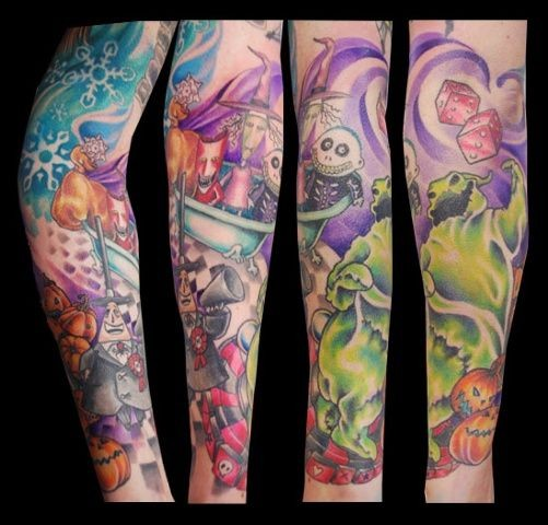 Wonderful Halloween themed multicolored monsters tattoo on sleeve