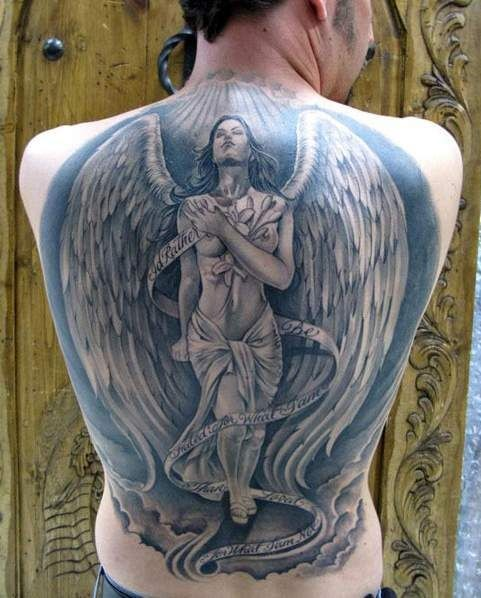 Wonderful idea of angel girl tattoo on back