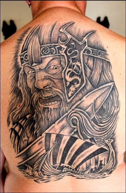 Wonderful idea of viking tattoo on back
