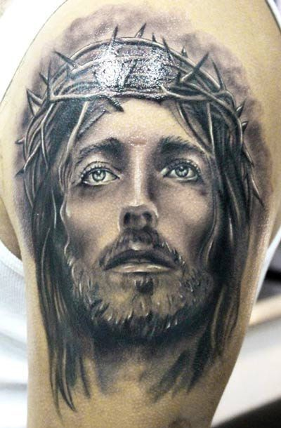 Wonderful jesus crowned with thorns tattoo on shoulder