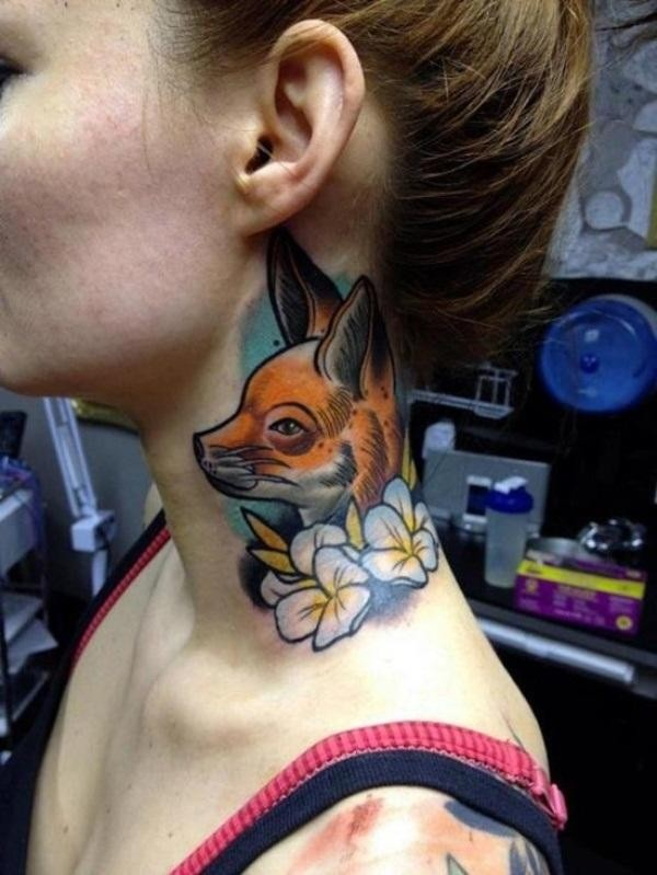 Wonderful old style like naturally colored small fox and flowers neck tattoo with shadow