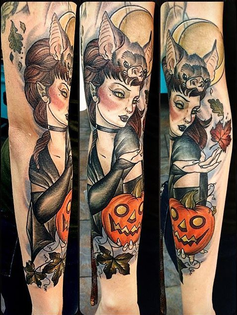Wonderful painted and colored mystical witch sleeve tattoo