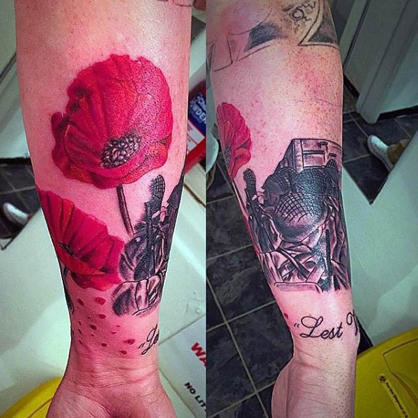 Wonderful painted realistic looking red flower tattoo on arm