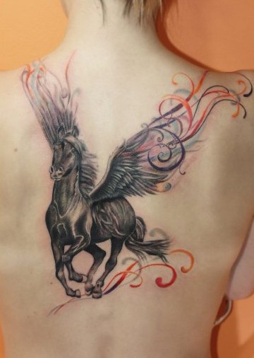 wonderful pegasus tattoo on back. Black Bedroom Furniture Sets. Home Design Ideas