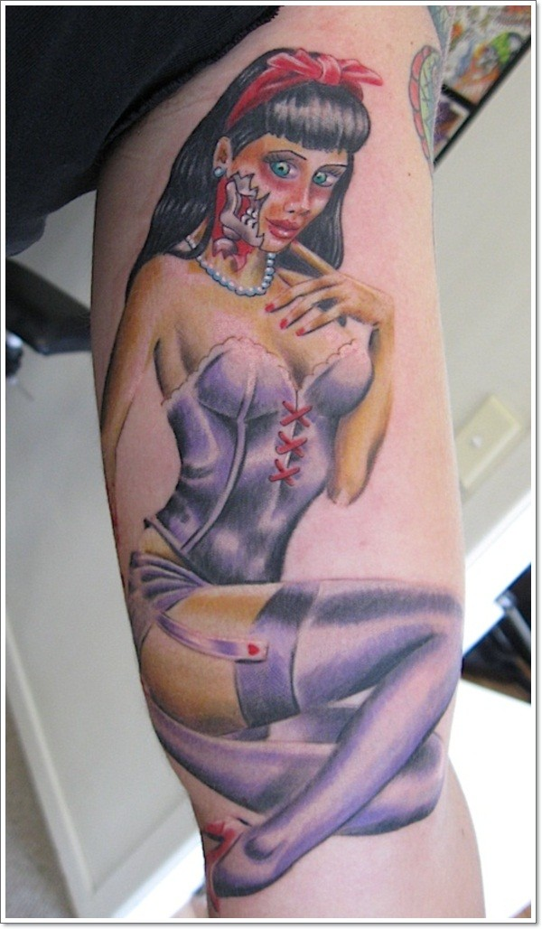 Wonderful pin up girl zombi tattoo on arm