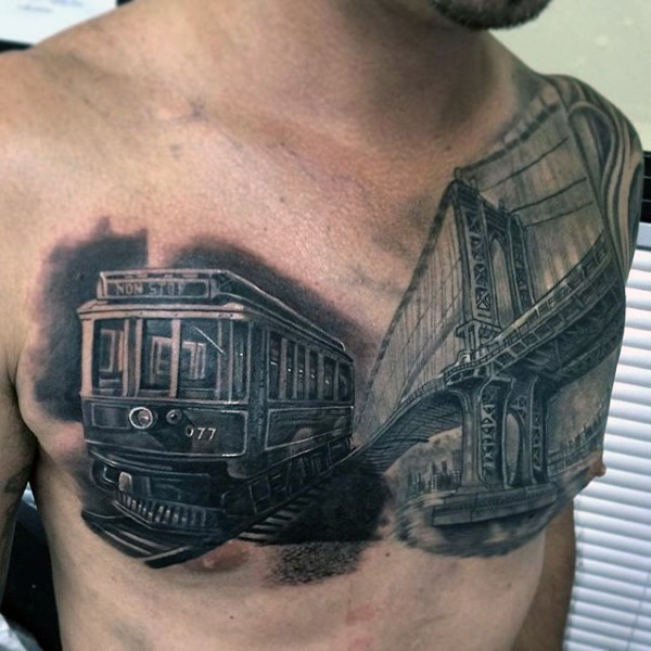 Wonderful real life like colored realism style small train with Golden Gate bridge