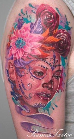Wonderful santa muerte geisha tattoo in pink color