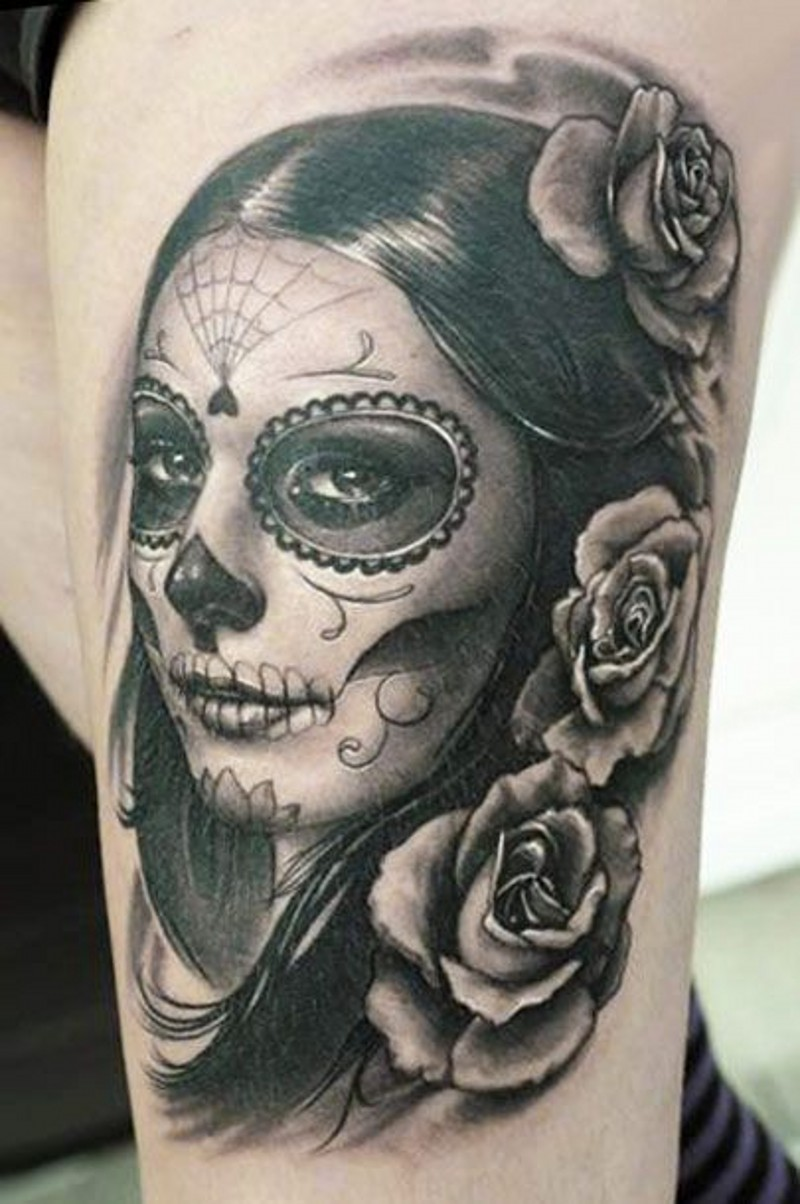 Wonderful santa muerte girl with hair in spanish style and roses tattoo