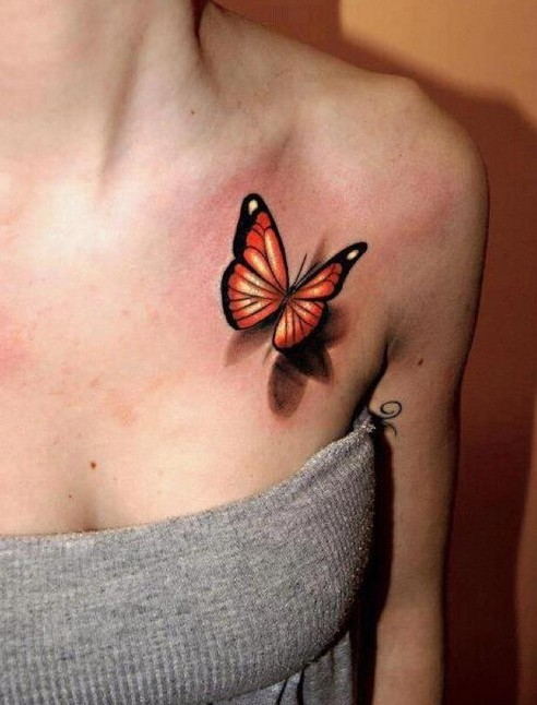 Wonderful small butterfly tattoo with shadows