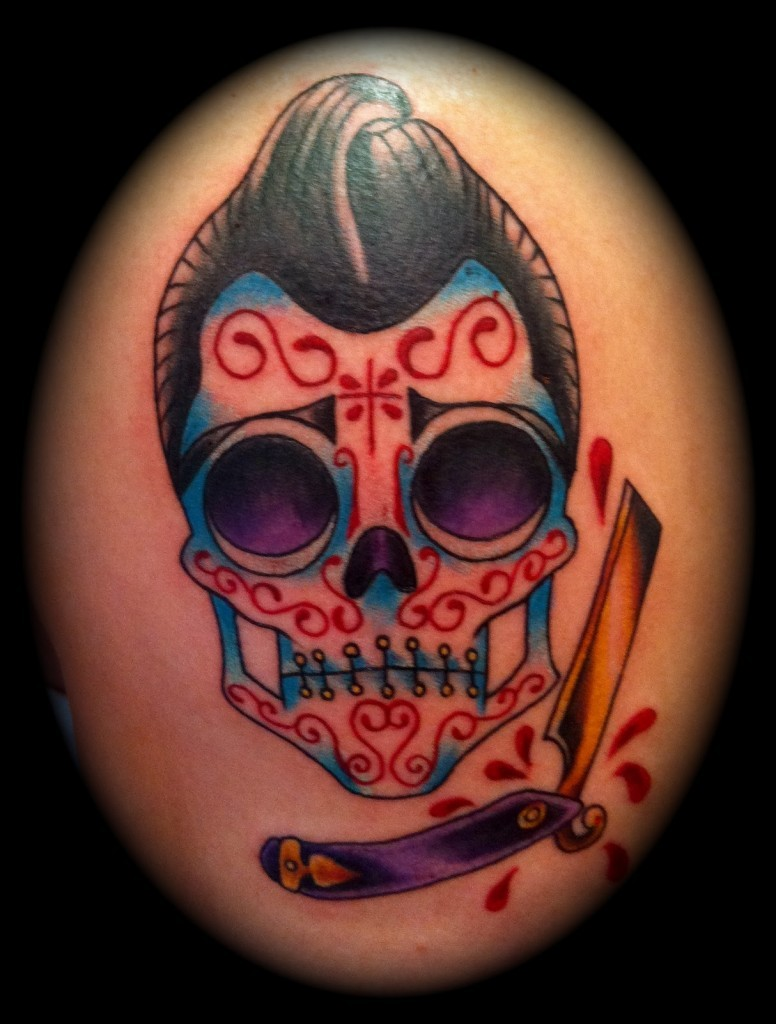 Wonderful sugar skull with razor tattoo
