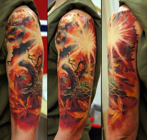 Wonderful tree and sunrise tattoo on half sleeve by Andrey Barkov