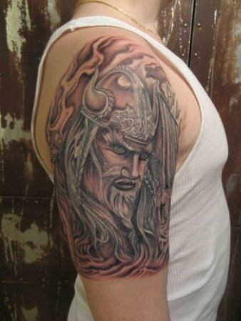 Wonderful viking tattoo on half sleeve
