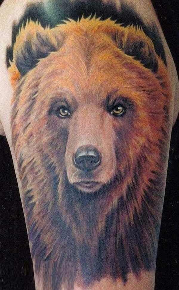 bellissimo acquerello orso tatuaggio su braccio