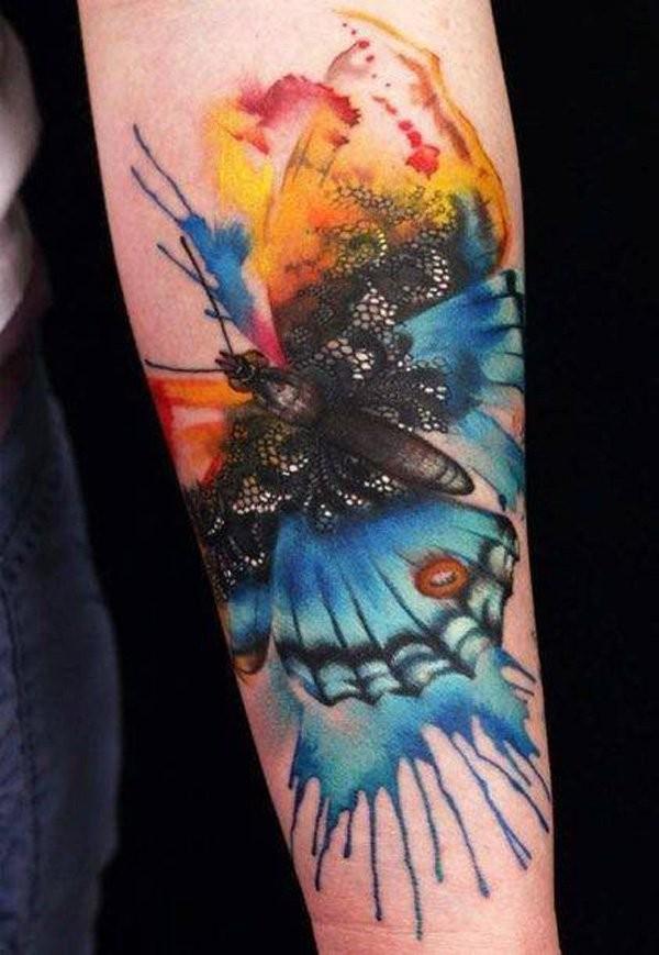 meraviglioso acquerello farfalla avambraccio tatuaggio