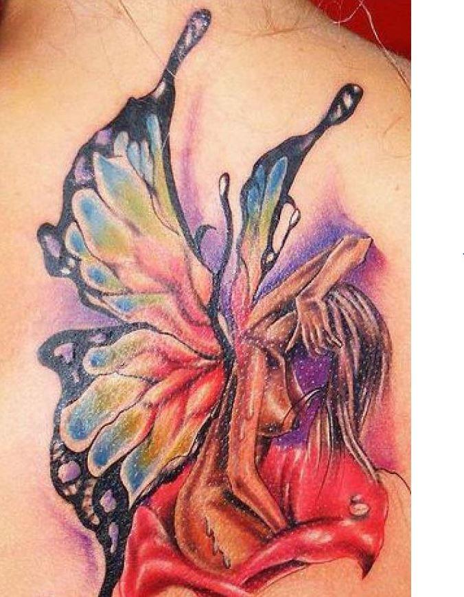 Wonderful watercolor fairy tattoo