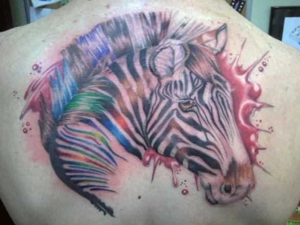 bellissimo acquerello ritratto di zebra tatuaggio su schiena da Flicka