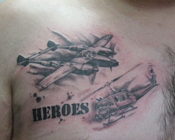 WW2 themed colored chest tattoo of military plane and helicopter
