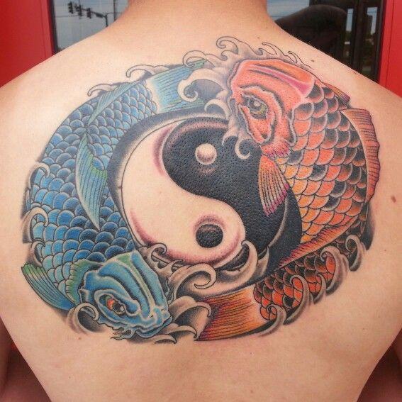 Yin yang fish symbol in color