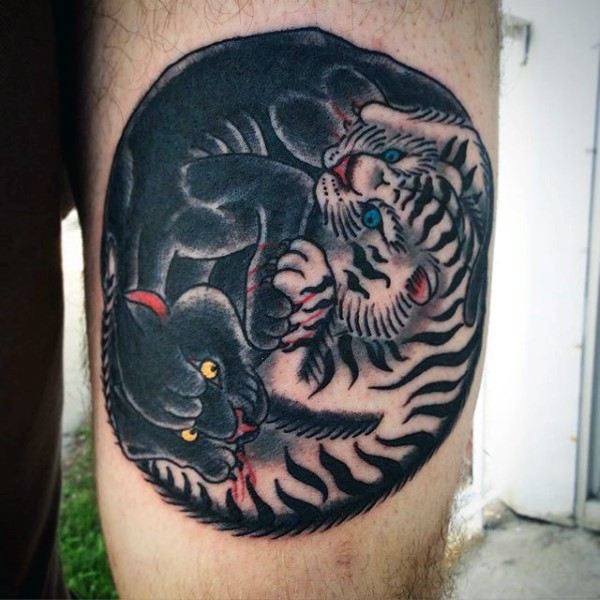 Yin Yang symbol shaped small old school style colored thigh tattoo of panther fighting tiger