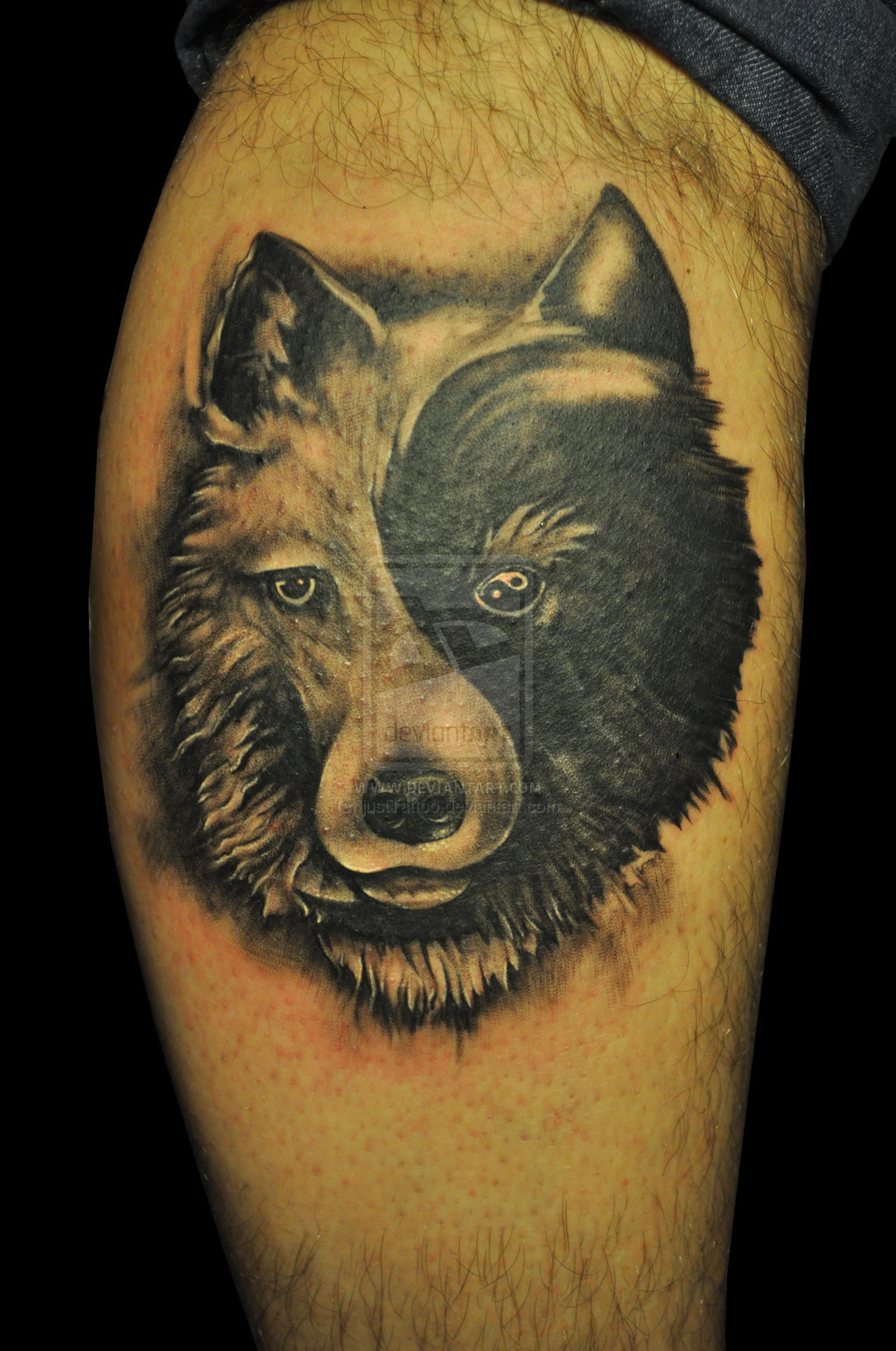 Indian with eagle and wolf tattoo on shoulder tattooimages biz - Yin Yang Wolf Tattoo