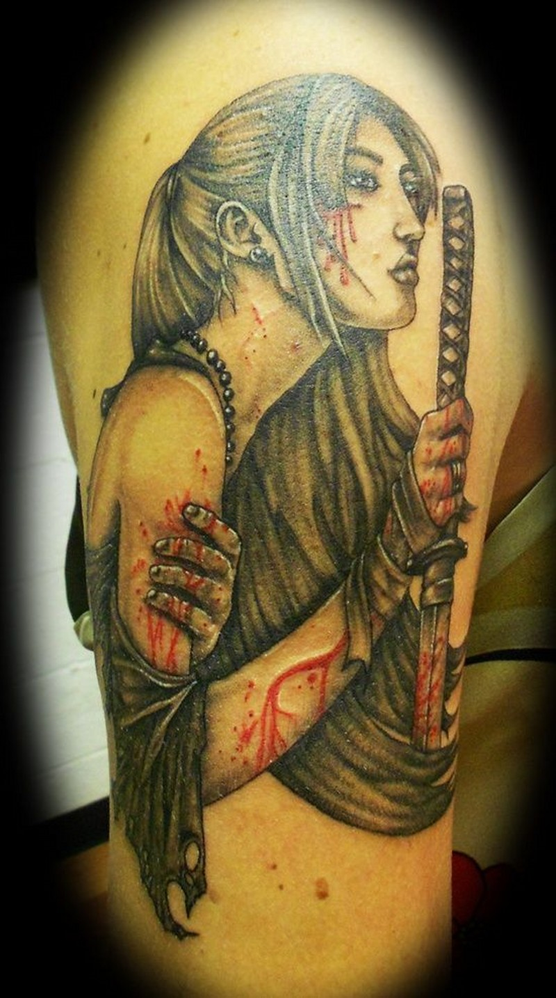 Young Asian girl warrior with bloody wounds and sword tattoo on shoulder