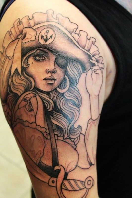 Young girl pirate tattoo by steffi boecker
