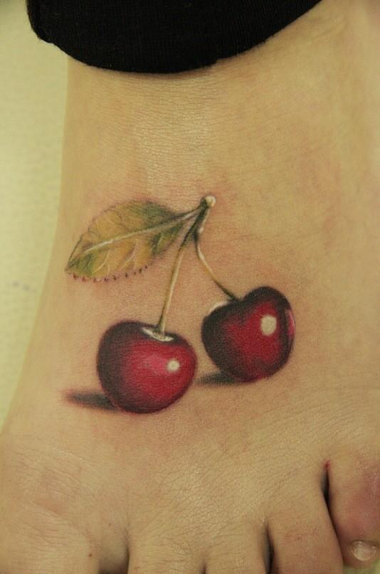 dolce ciliegia sexy tatuaggio su piede