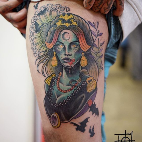 Zombie lice colored mystical witch tattoo on thigh
